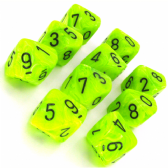 Bright Green & Black Vortex D10 Ten Sided Dice Set